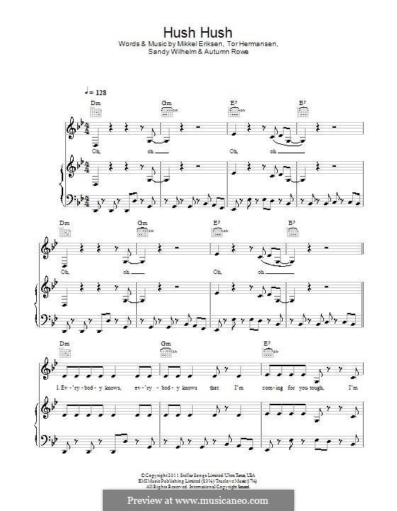 Hush Hush: Für Stimme und Klavier (oder Gitarre) by Autumn Rowe, Mikkel Storleer Eriksen, Sandy Wilhelm, Tor Erik Hermansen