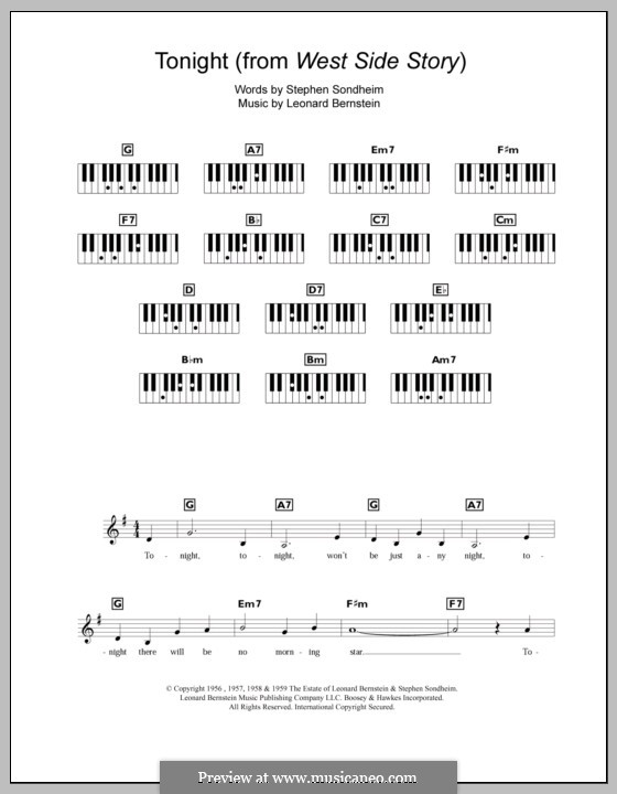 Tonight (from West Side Story): Für Keyboard by Leonard Bernstein