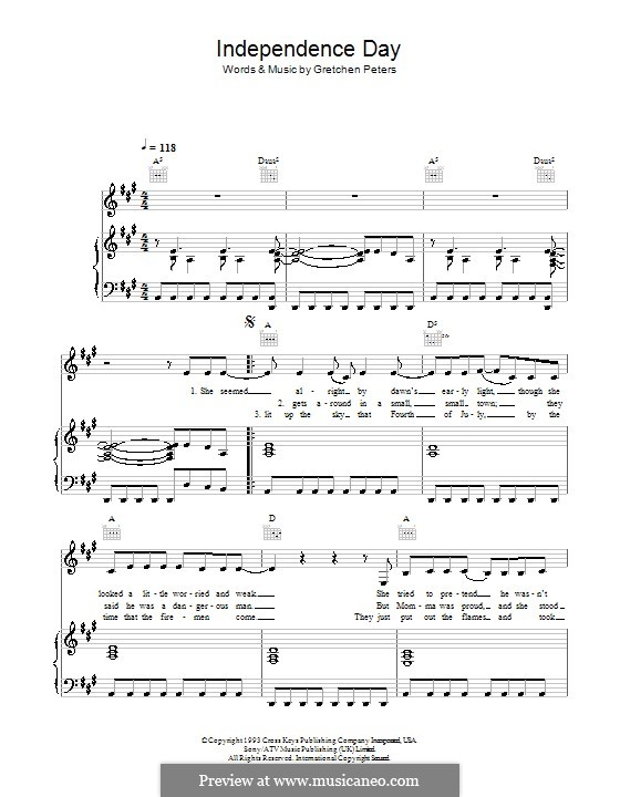 Independence Day: Für Stimme und Klavier (oder Gitarre) by Gretchen Peters