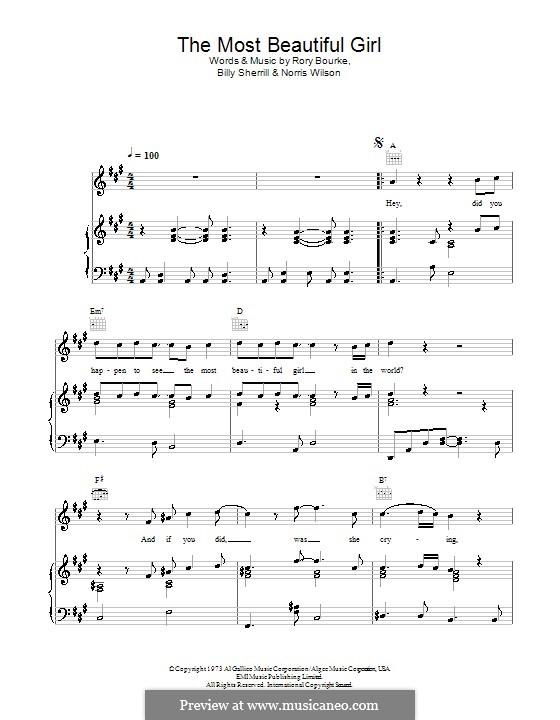 The Most Beautiful Girl (Charlie Rich): Für Stimme und Klavier (oder Gitarre) by Billy Sherrill, Norris Wilson, Rory Bourke