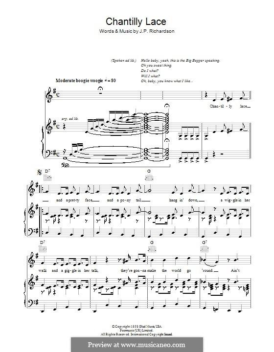 Chantilly Lace (The Big Bopper): Für Stimme und Klavier (oder Gitarre) by J.P. Richardson