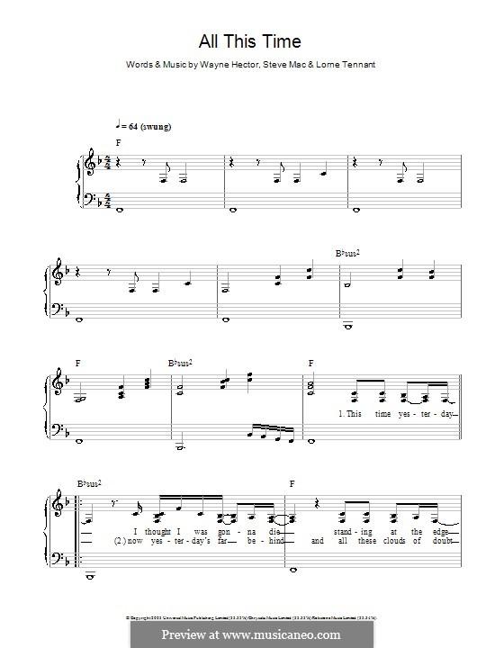 All This Time (Michelle McManus): Für Klavier, leicht by Lorne Tennant, Steve Mac, Wayne Anthony Hector