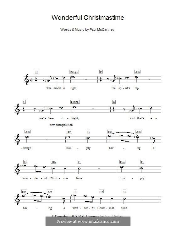 Wonderful Christmastime: Für Keyboard by Paul McCartney