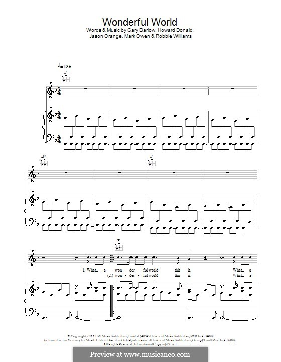 Wonderful World (Take That): Für Stimme und Klavier (oder Gitarre) by Gary Barlow, Howard Donald, Jason Orange, Mark Owen, Robbie Williams