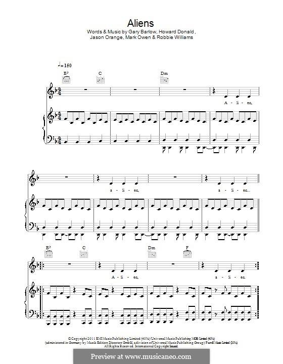 Aliens (Take That): Für Stimme und Klavier (oder Gitarre) by Gary Barlow, Howard Donald, Jason Orange, Robbie Williams