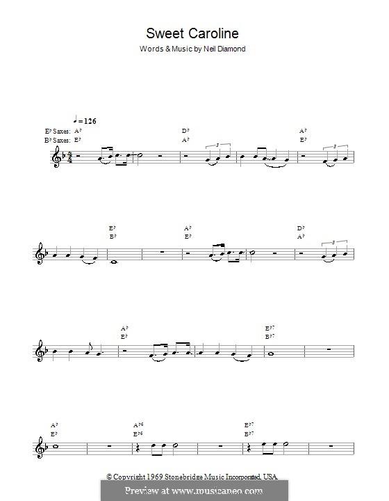 Sweet Caroline: Für Saxophon by Neil Diamond