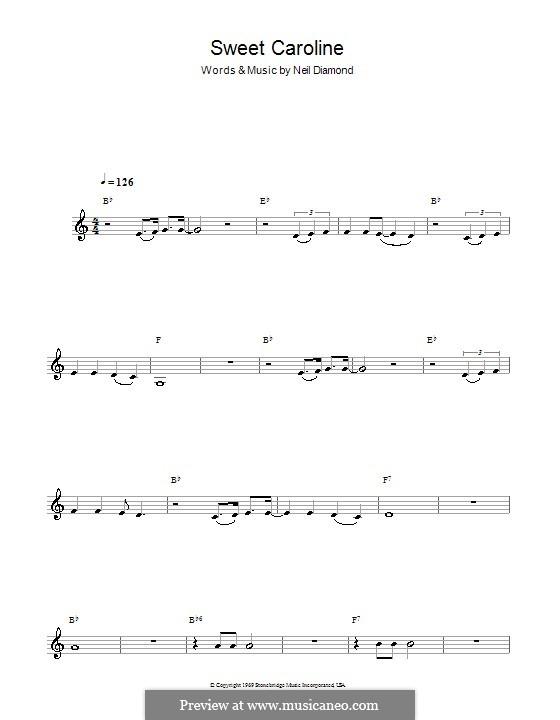 Sweet Caroline: Für Klarinette by Neil Diamond