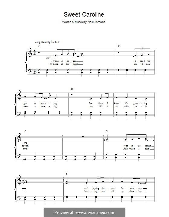 Sweet Caroline: Für Stimme und Klavier by Neil Diamond