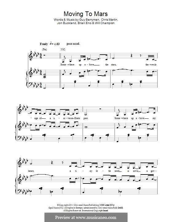 Moving to Mars (Coldplay): Für Stimme und Klavier (oder Gitarre) by Brian Eno, Chris Martin, Guy Berryman, Jonny Buckland, Will Champion