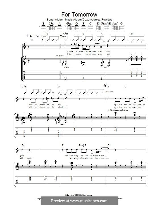 For Tomorrow (Blur): Für Gitarre mit Tab by Alex James, Damon Albarn, David Rowntree, Graham Coxon