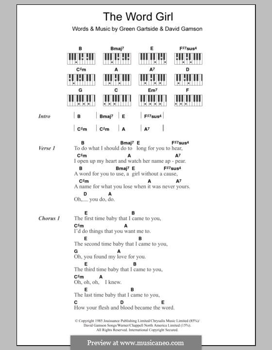 The Word Girl (Scritti Politti): Text und Akkorde für Klavier by David Gamson, Green Gartside