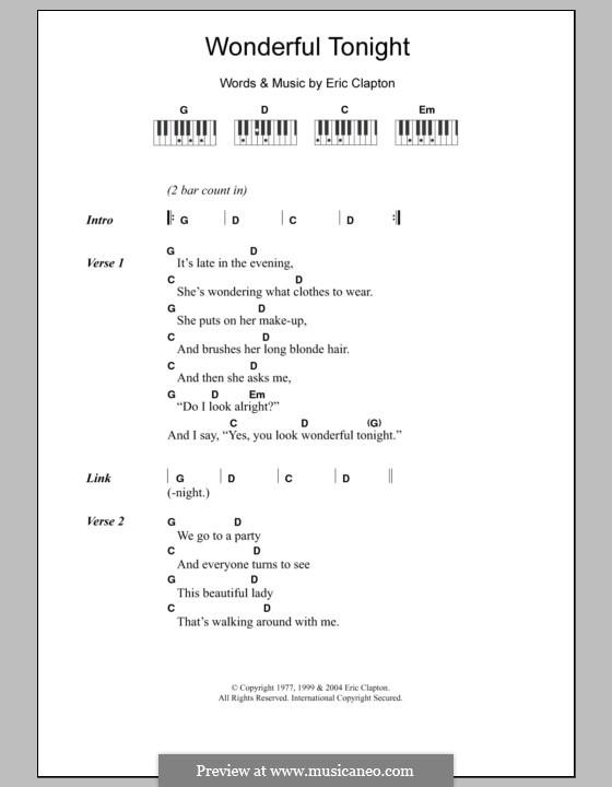 Wonderful Tonight: Text und Akkorde für Klavier by Eric Clapton