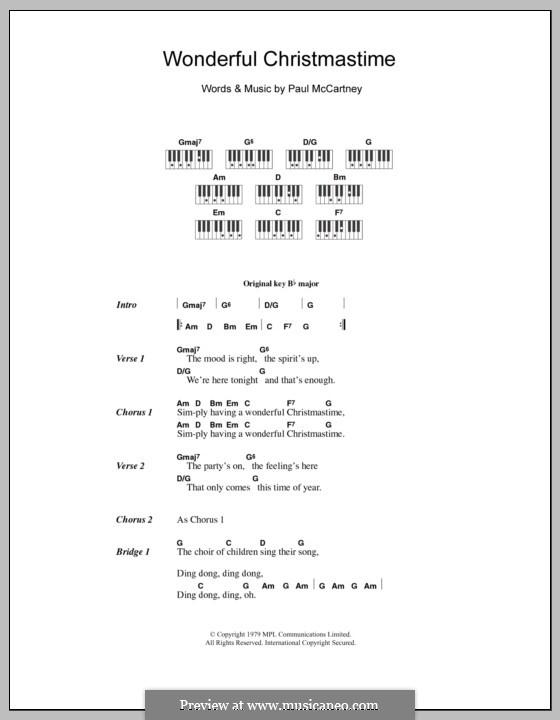 Wonderful Christmastime: Text und Akkorde für Klavier by Paul McCartney