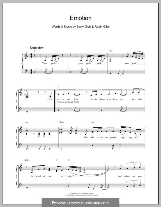 Emotion (Destiny's Child): Für Klavier, leicht by Barry Gibb, Robin Gibb