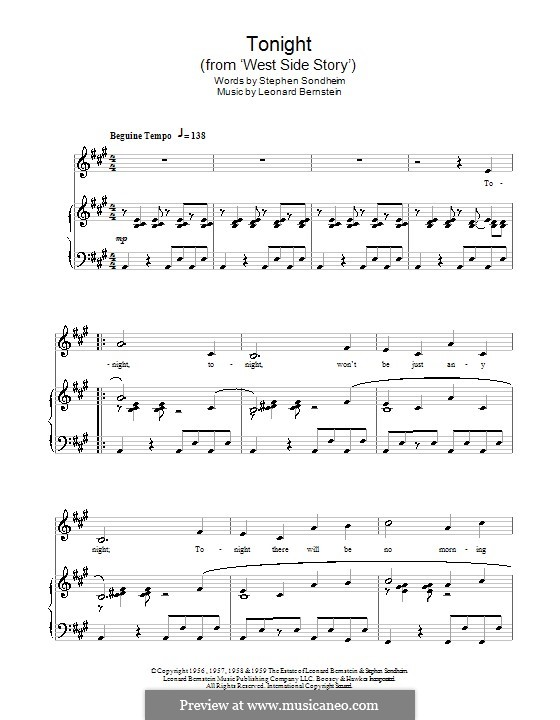 Tonight (from West Side Story): Für Stimme und Klavier by Leonard Bernstein