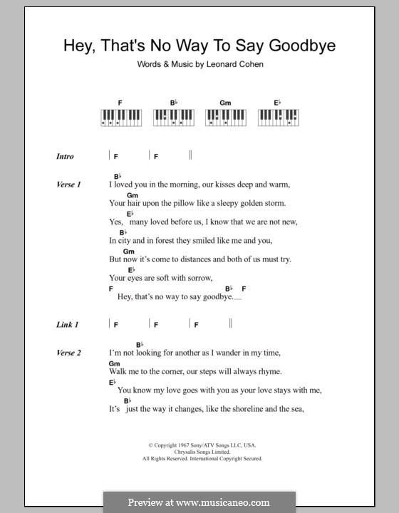 Hey, That's No Way to Say Goodbye: Text und Akkorde für Klavier by Leonard Cohen