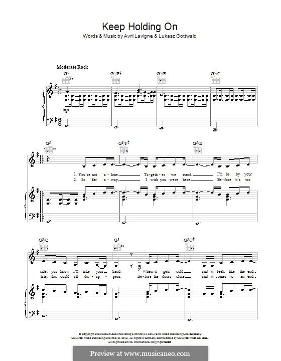 Keep Holding On: Für Stimme und Klavier (oder Gitarre) by Avril Lavigne, Lukas Gottwald