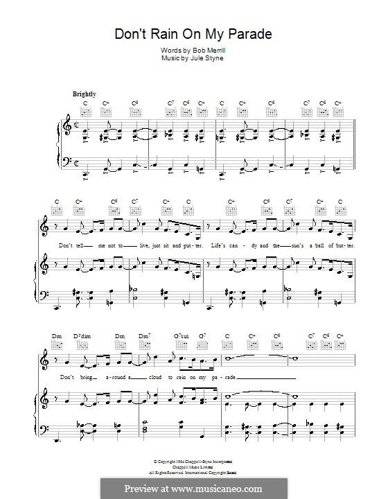 Don't Rain on My Parade: Für Stimme und Klavier (oder Gitarre) by Jule Styne