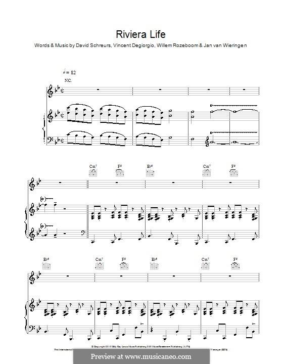 Riviera Life (Caro Emerald): Für Stimme und Klavier (oder Gitarre) by David Schreurs, Vincent Degiorgio, Willem Rozeboom