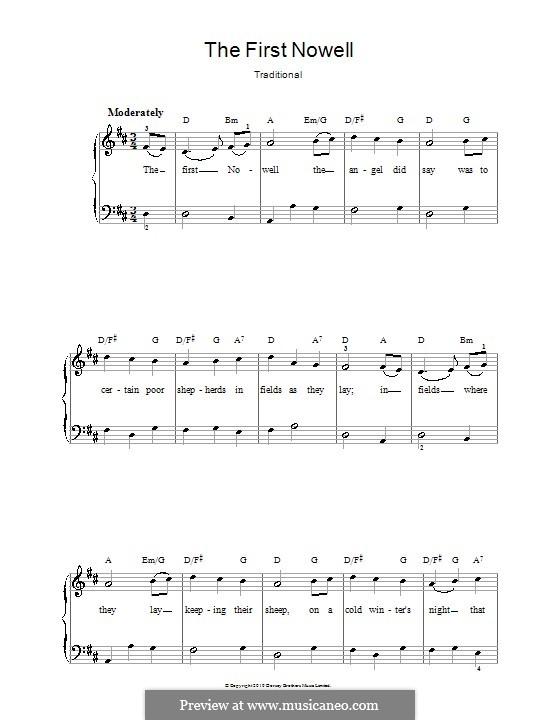 The First Nowell (The First Noël), Printable scores: Für Stimme und Klavier oder Gitarre (D-Dur) by folklore