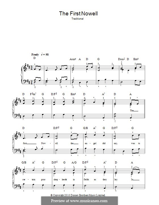 The First Nowell (The First Noël), for Piano: Version für leichtes Klavier by folklore