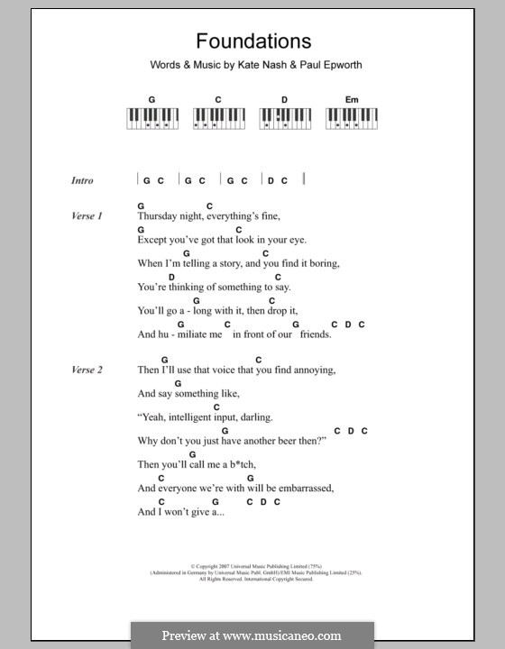 Foundations: Text und Akkorde für Klavier by Kate Nash, Paul Epworth