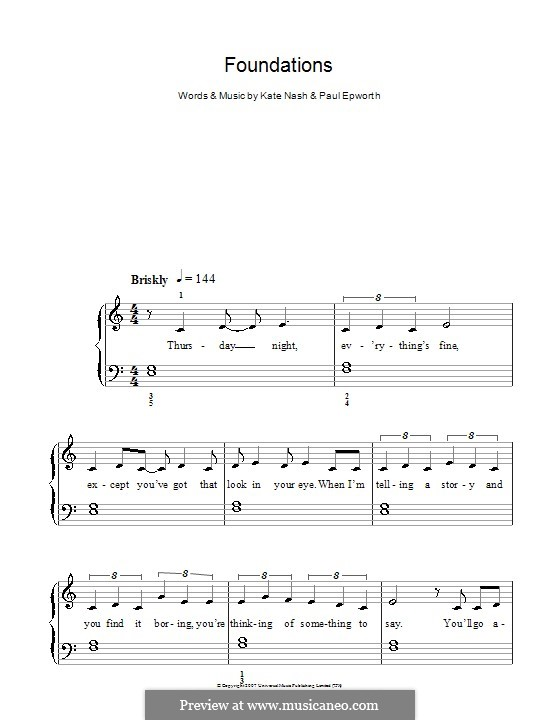 Foundations: Einfache Noten für Klavier by Kate Nash, Paul Epworth