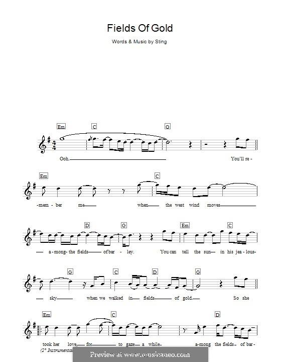 Fields of Gold: Für Keyboard by Sting