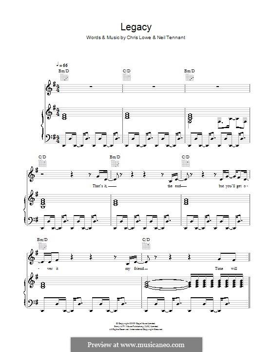 Legacy (The Pet Shop Boys): Für Stimme und Klavier (oder Gitarre) by Chris Lowe, Neil Tennant