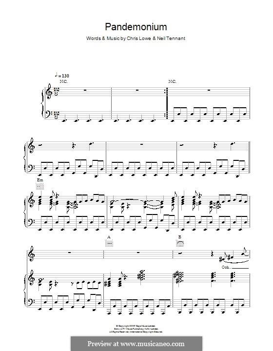 Pandemonium (The Pet Shop Boys): Für Stimme und Klavier (oder Gitarre) by Chris Lowe, Neil Tennant
