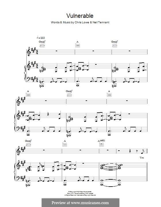 Vulnerable (The Pet Shop Boys): Für Stimme und Klavier (oder Gitarre) by Chris Lowe, Neil Tennant