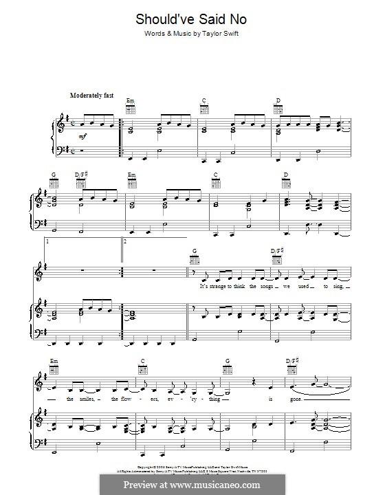 Should've Said No: Für Stimme und Klavier (oder Gitarre) by Taylor Swift