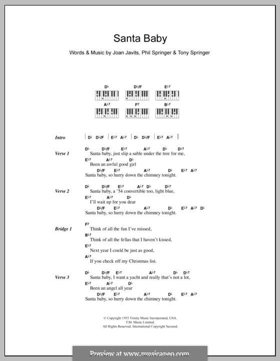 Santa Baby (Eartha Kitt): Text und Akkorde für Klavier by Joan Javits, Philip Springer, Tony Springer
