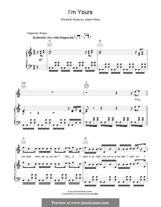 I'm Yours: Für Stimme und Klavier (oder Gitarre) by Jason Mraz