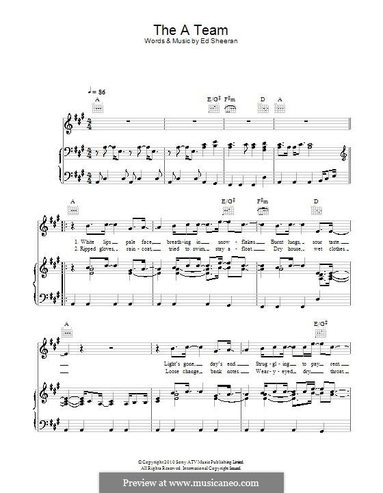 The a Team: Für Stimme und Klavier (oder Gitarre) by Ed Sheeran