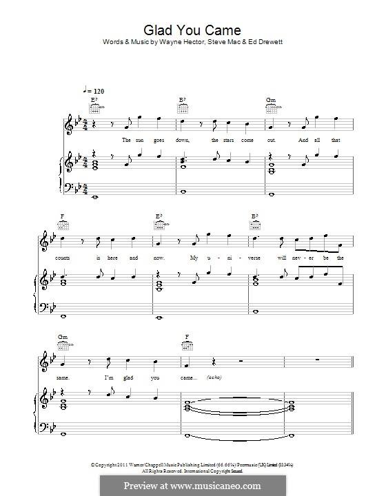 Glad You Came (The Wanted): Für Stimme und Klavier (oder Gitarre) by Ed Drewett, Steve Mac, Wayne Anthony Hector