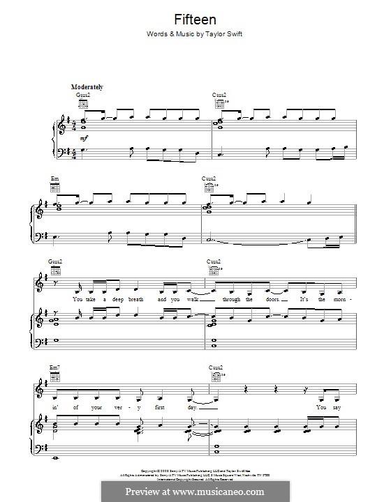 Fifteen: Für Stimme und Klavier (oder Gitarre) by Taylor Swift
