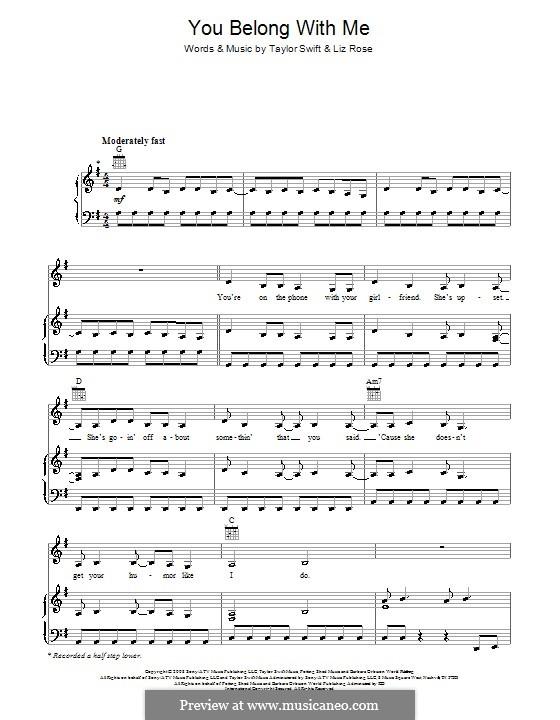 You Belong with Me (Taylor Swift): Für Stimme und Klavier (oder Gitarre) by Liz Rose