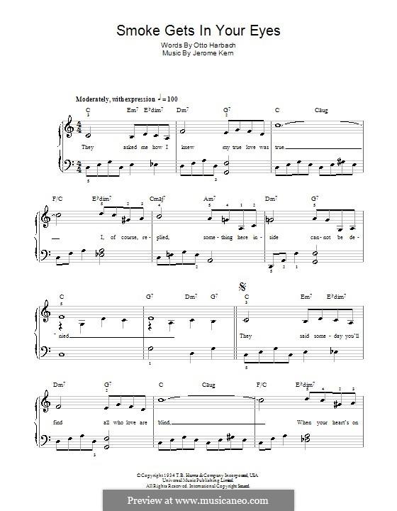 Smoke Gets in Your Eyes (from 'Roberta'): Für Klavier, leicht by Jerome Kern