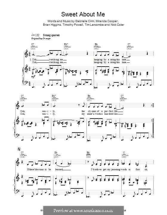 Sweet About Me: Für Stimme und Klavier (oder Gitarre) by Brian Higgins, Gabriella Cilmi, Miranda Cooper, Nicholas Coler, Tim Powell, Timothy Larcombe
