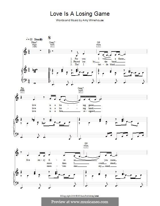 Love Is a Losing Game: Für Stimme und Klavier (oder Gitarre) by Amy Winehouse