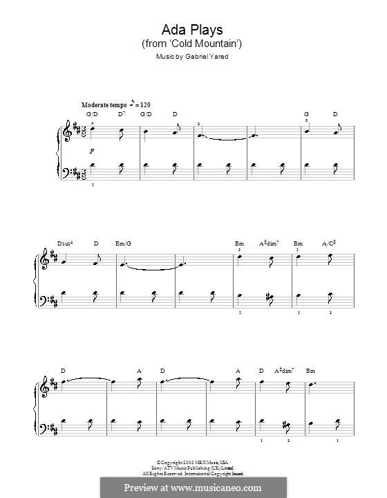 Ada Plays to Inman (from Cold Mountain): Einfache Noten für Klavier by Gabriel Yared