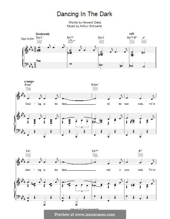 Dancing in the Dark (Frank Sinatra): Für Stimme und Klavier (oder Gitarre) by Arthur Schwartz