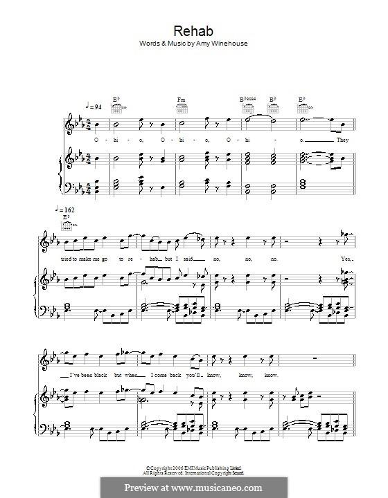 Rehab: Für Stimme mit Klavier oder Gitarre (Glee Cast) by Amy Winehouse