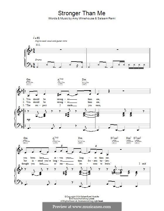 Stronger Than Me: Für Stimme und Klavier (oder Gitarre) by Amy Winehouse, Salaam Remi