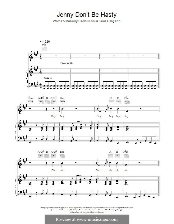 Jenny Don't Be Hasty: Für Stimme und Klavier (oder Gitarre) by Jimmy Hogarth, Paolo Nutini