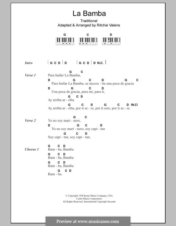 La Bamba: Text und Akkorde für Klavier by folklore, Ritchie Valens