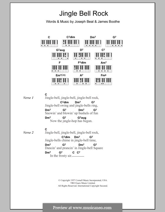 Jingle Bell Rock: Text und Akkorde für Klavier (Chubby Checker) by Jim Boothe, Joe Beal