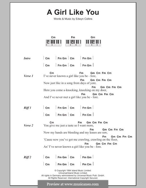 A Girl Like You: Text und Akkorde für Klavier by Edwyn Collins