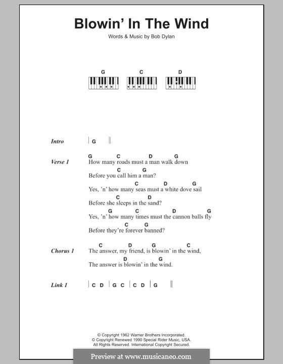 Blowin' in the Wind: Text und Akkorde für Klavier by Bob Dylan